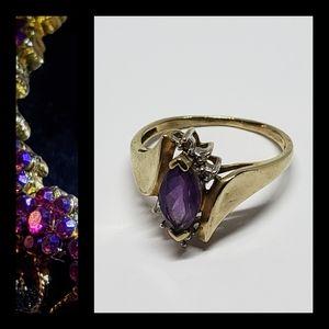Vintage Amethyst Diamond 14K YG Ring